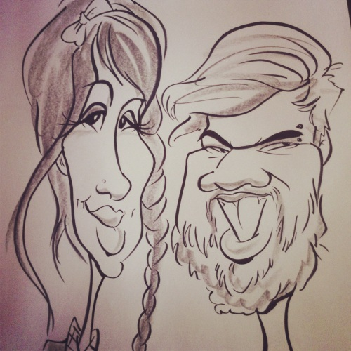 Bridal expo caricatures