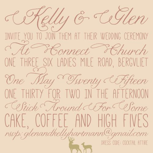 Glen and Kelly's invitation 1